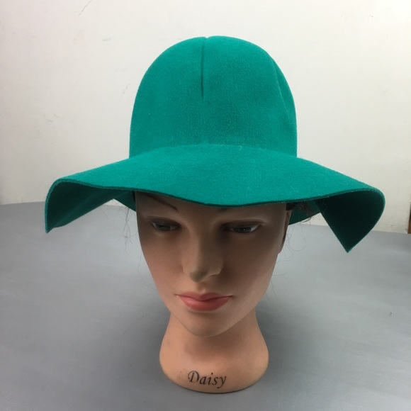 Vintage green felted wool floppy fisherman hat